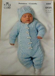 Babies All in One & Hat Aran Knitting Pattern