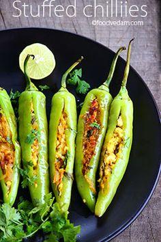 stuffed Chillies with paneer/ Bharwan mirchi recipe - Foodvedam Indian Veg Recipes, Chilli Recipes, Paneer Recipes, Indian Snacks, Paneer Snacks, Beef Recipes, Snack Recipes, Healthy Recipes, Tapas