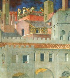 Ambrogio Lorenzetti - Architettura urbana (Gli Effetti del Buono Governo in città) - affresco - 1338-1339 - Siena - Palazzo Pubblico, Sala dei Nove o Sala della Pace