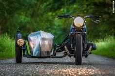 BMW airhead custom with bare metal sidecar