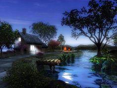 Beautiful Village At Night Fantasy Digital Art Pictures