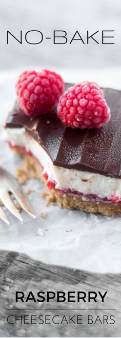 No Bake Raspberry Cheesecake Bars are just delightful --- with a graham cracker crust, a layer of fresh raspberry, a fluffy cheesecake filling, and a swath of dark chocolate on top --- what could be better?