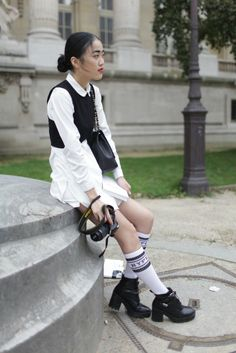 Legwear on the streets during the spring collections. [Photo by Kuba Dabrowski]