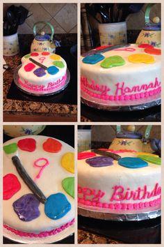 Hannah's paint-themed birthday cake.