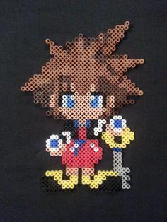 Sora Perler Bead Figure  Kingdom Hearts by AshMoonDesigns on Etsy, $10.00 https://www.etsy.com/shop/AshMoonDesigns