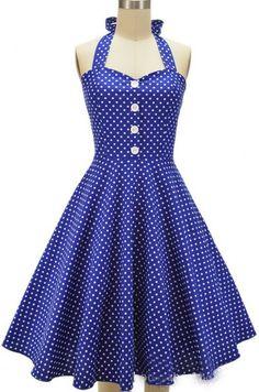 Royal Blue Long Polka Dot Vintage Dress
