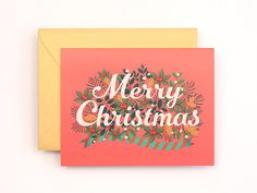 Merry Christmas Card by @Mimi Kim, $4.50 #greetings #card #illustration #christmas #typography