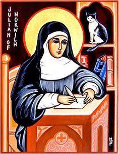St Julian of Norwich Catholic Saints, Patron Saints, Roman Catholic, Religious Images, Religious Art, Patron Saint Of Cats, Bible Images, Mystique, Cat People