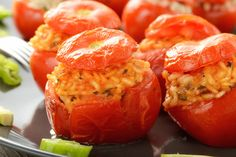 Traditional Italian Stuffed Tomatoes with Rice (Pomodori Ripieni con Riso) | Enjoy this authentic Italian recipe from our kitchen to yours. Buon Appetito!