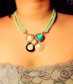 Button Necklace Statement Necklace Pearl Necklace by GirlyCutie