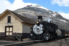 Durango & Silverton Narrow Gauge Railroad at the Silverton station, Colorado, USA