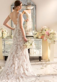 Essense of Australia designer Lace over Lustre Satin wedding gown with a scalloped Lace neckline and low back | Theknot.com