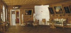 Interior portrait by the artist of Venetsianov's school, 1830s
