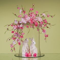 bunnies in dome cloche and pink flowers
