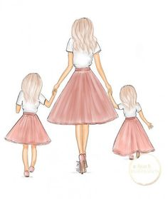Mother and two daughters fashion illustration print by Alison B illustration - B. Mother and two daughters fashion illustration print by Alison B illustration – Baby clothes shoul