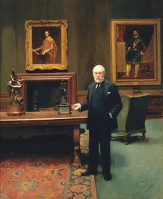 On December 2, 1919, Henry Clay Frick passed away. Sir Gerald Kelly (1879–1972), Portrait of Mr. Frick in the West Gallery of his home at 1 East 70th Street (now The Frick Collection), 1925. Oil on canvas, Frick Art & Historical Center, Pittsburgh. #TheFrickPgh #frickcollection #velazquez #elgreco