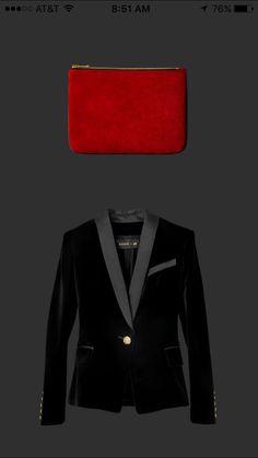 Velvet tuxedo jacket, small suede leather clutch. #hmbalmaination