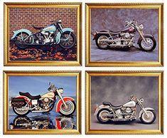 Silver Aqua Harley Davidson Four Set Golden Framed Picture Vintage Indian Motorcycle Electra Glide Wall Decor Art Print Posters Poster Prints, Posters, Art Prints, Framed Wall Art, Wall Art Decor, Vintage Indian Motorcycles, Electra Glide, Motorcycle Art, Picture Frames