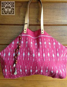 Vintage Hmong Tribal Ikat Tote bag red hand weaved by LavishLanna