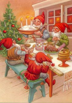 Elves Holiday Meal Jenny Nystrom Christmas Counted Cross Stitch or Counted Needlepoint Pattern Swedish Christmas, Christmas Gnome, Christmas Past, Scandinavian Christmas, Christmas Pictures, All Things Christmas, Illustration Noel, Christmas Illustration, Illustrations