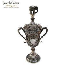 INDIAN SILVER PRESENTATION CUP & COVER, SWAMI/ELEPHANT, MADRAS CIRCA 1879 Joseph, Fountain, Presentation, Elephant, Indian, Antiques, Cover, Antiquities, Antique