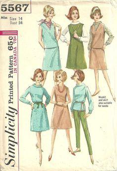 Simplicity 5567 / Vintage 60s Sewing Pattern / Dress Jumper Blouse Skirt Pants Trousers Vest Wardrobe / Size 14 Bust 34