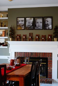 #fireplace - love the pictures and the mantle!