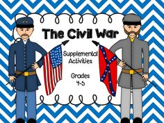 The Civil War Unit Supplemental Activities for grades 4-5. A student research book is also included with over 20 topics!