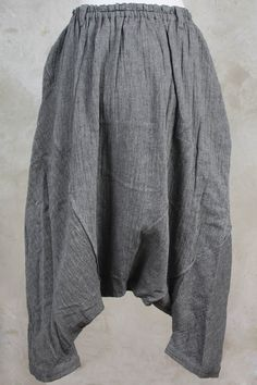 Very Low Crotch Trouser with Elasticated Waist in Slate Grey - Moyuru
