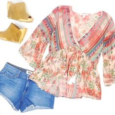 ✔️Boho Blouse ✔️Denim Cut Offs ✔️Fringe Wedges 💕READY FOR THE WEEKEND 💕 #bohostyle #summer #love #summerstyle #waterlilyshop