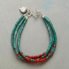 DESERT BELLE BRACELET - Three strands of turquoise sparked with carnelian secured with a toggle clasp; hammered heart charm hangs nearby.