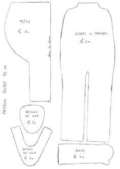 patron poupée 32cm