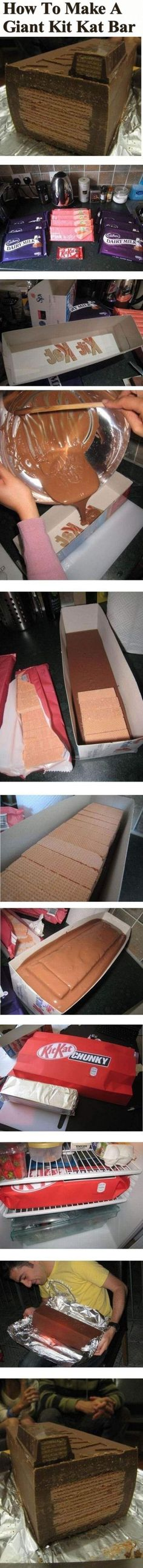 How To Make A Giant Kit Kat Bar candy chocolate delicious recipe recipes dessert recipe dessert recipes food tutorials no bake food tutorial kit kats NOT DIRECT LINK Candy Recipes, Baking Recipes, Dessert Recipes, Just Desserts, Delicious Desserts, Yummy Food, Kit Kat Gigante, Giant Kit Kat Bar, Giant Candy Bars