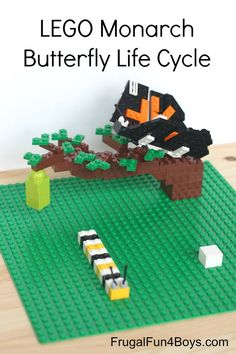 Build the Monarch Butterfly Life Cycle with LEGO's. Egg, caterpillar, chrysalis, and butterfly. The butterfly has movable wings!