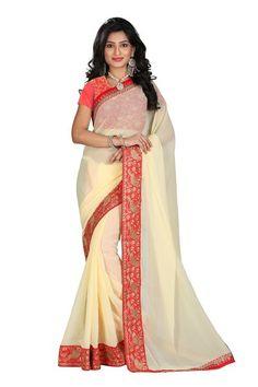 Designer Cream And Orange Faux Georgette Saree With Rawsilk Blouse Fabric