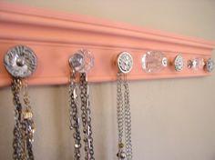 """Melon jewelry rack,This jewelry organizer w/ 7 decorative knobs.20 """" necklace organizer glass knobs decorative jewelry storage"""