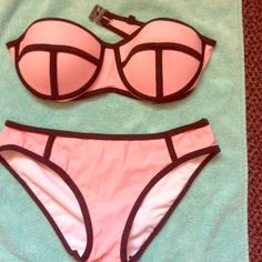 Pink Bikini Top & Bottom Pink bikini I bought online. I wore this once and decided it didn't fit! It's great quality though, size small! Fits like small. The top fits as about a B cup. Perfect condition. I love this bikini so much I re ordered it in a bigger size. Swim Bikinis