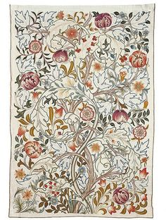 """""""[Morris & Co.] sold embroidery kits, consisting of designs drawn onto linen sold with the silk and wool threads required to complete the work. Often a corner was begun by the factory, which acted as an indication to the buyer as to which stitches and colours to use throughout the rest of the design. [...] The company's embroideries were employed for a wide range of uses including screens, hangings, mantle borders, table covers, altar frontals and cushions."""""""