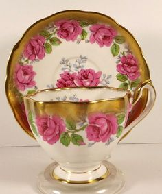 Queen Anne Tea Cup Saucer Pink Roses Heavy Gold Trim Flowers England Bone China #heavygoldpinkroses #QueenAnne