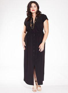 Emma Maxi Shirt Plus Size Dress in Black