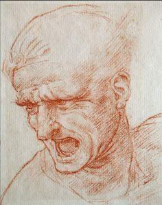 Leonardo - warrior head, chalk with hatching shading