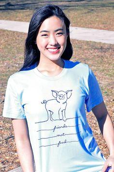 Pig Friend Not Food T-Shirt by Quinoa Apparel - Grape Cat - 1