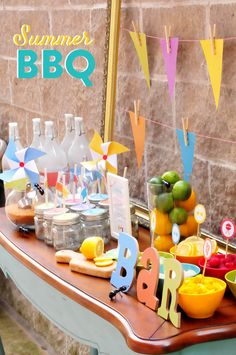 Host a fun + festive Colorful Summer BBQ Party with these fun tips from Pizzazzerie! With the adorable party favors and assorted fruit sorbets, this is one soiree we would love to attend! Barbecue Party, Grill Party, Barbecue Grill, Summer Bbq, Summer Parties, Summer Picnic, Bbq Party Decorations, Bbq Bar, Birthday Drinks