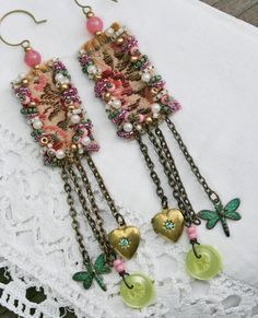 Tapestry - Textile Bead Embroidery Earrings with Vintage Charms More