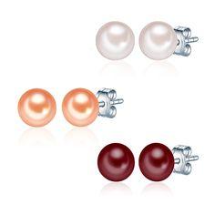 Set 3 cercei Valero Pearls argint cu perle de cultură alb roz, portocalii, rosu visiniu