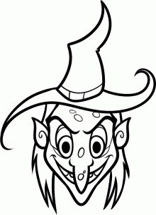 Scary witch face coloring page  Leisas new Life  Pinterest