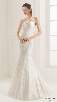rosa clara two spring 2016 sleeveless illusion jewel sweetheart neckline fully embellished elegant mermaid trumpet lace wedding dress lace back court train (ezequiel) mv