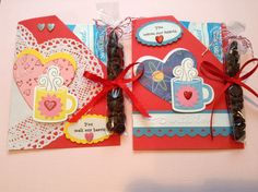 Valentine Cocoa packets with mint chocolate chips.
