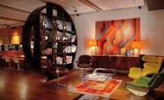 einrichtung retro stil 60er jahren möbel farben orange holz raumteiler