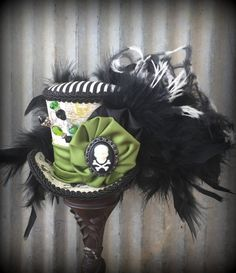 Mini Top Hat Skull and Cross bones Mini Top Hat by ChikiBird Alice In  Wonderland Hat 68bf96c02f19
